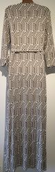 BODEN CREAM BROWN ZIG ZAG PRINT WRAP MAXI DRESS SIZE UK 16R